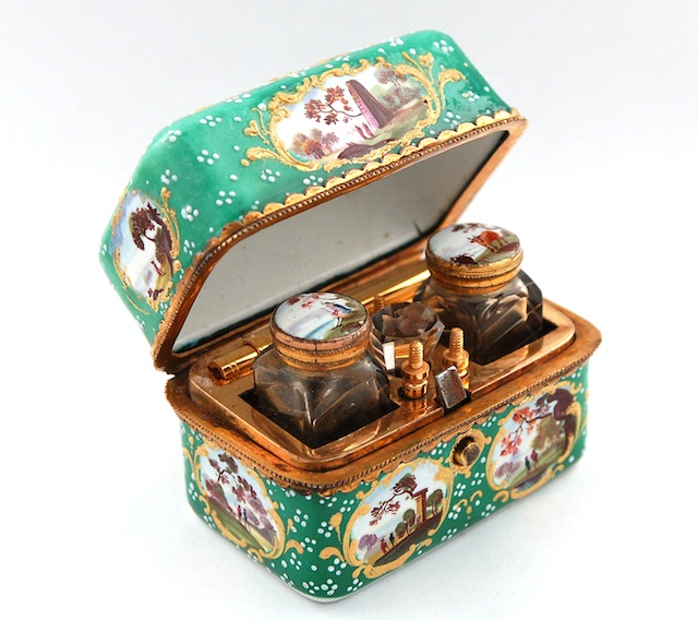 Olympia International Art & Antiques Fair 2014 - Green-ground enamel travelling-ink set with copper-gilt writing implements, cut glass ink and sander